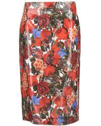Marni - Floral Print Waxed Poplin Pencil Skirt - Lyst