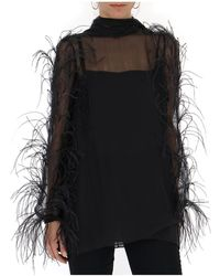 Valentino Sheer Feather Trim Blouse - Black