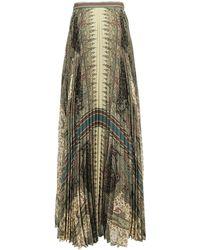 Etro Pleated Paisley Print Skirt - Multicolour