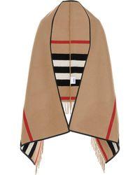 Burberry Icon Stripe Fringed Cape - Multicolour