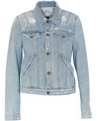 Givenchy Logo Distressed Denim Jacket - Blue
