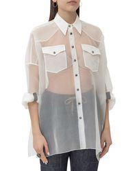 Brunello Cucinelli Sheer Front Pocket Shirt - White