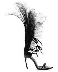 Saint Laurent - Feather Embellished Sandals - Lyst