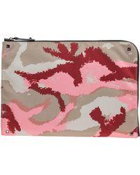 Valentino Valentino Garavani Camouflage Nylon Clutch Bag - Pink