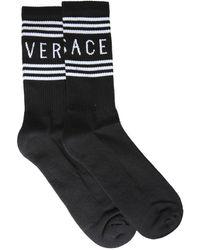 Versace Socks With Logo - Black