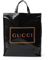 Gucci Logo Printed Tote Bag - Black