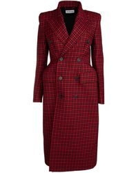Balenciaga Hourglass Plaid Double-breasted Coat - Red