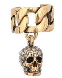 Alexander McQueen Embellished Skull Cuff Earrings - Metallic
