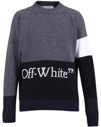 Off-White c/o Virgil Abloh - Logo Intarsia Colour-block Sweater - Lyst