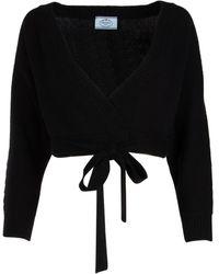 Prada Cropped Wrap Knit Top - Black