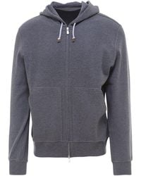 Brunello Cucinelli Zipped Hooded Sweatshirt - Gray