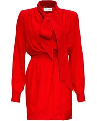 Saint Laurent Tied Neckline Wrap Dress - Red