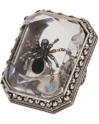 Alexander McQueen Beetle Embellished Ring - Metallic