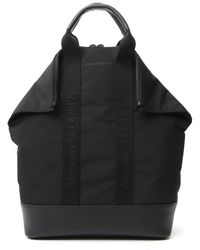 Alexander McQueen Leather-trimmed Tote Backpack - Black