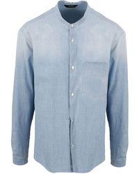 Z Zegna Mandarin Collar Shirt - Blue