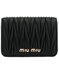 Miu Miu Matelassé Cardholder Belt Bags - Black