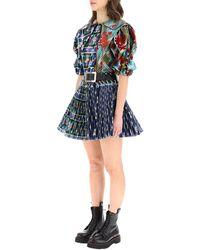 Chopova Lowena Pleated Mini Dress - Blue