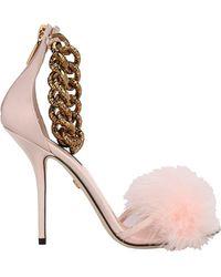 Dolce & Gabbana Feather Embellished Sandals - Pink