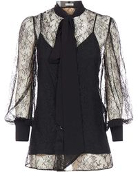 Givenchy Pussybow Lace Sheer Blouse - Black