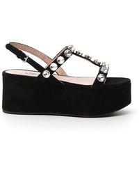 Miu Miu Crystal-embellished Platform Sandals - Black