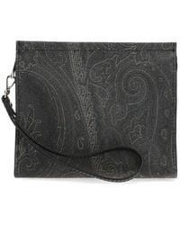 Etro Paisley Print Wristlet Clutch Bag - Black
