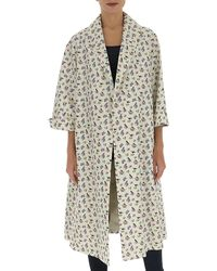 Prada Oversized Swallow Print Coat - White