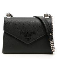 Prada Logo Plaque Envelope Shoulder Bag - Black