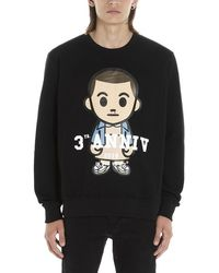 ih nom uh nit Graphic Print Crewneck Sweater - Black