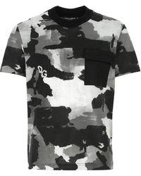 Dolce & Gabbana Printed Cotton Blend T-shirt Nd Uomo - Black