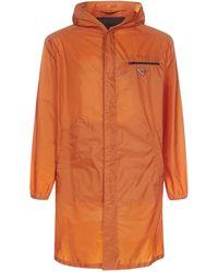 Prada Logo Plaque Raincoat - Orange