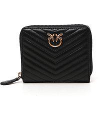 Pinko Quilted Zip-around Wallet - Black