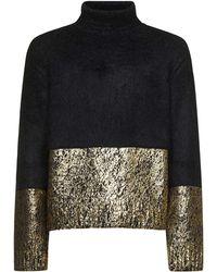 Dolce & Gabbana Turtle Neck Panelled Jumper - Black