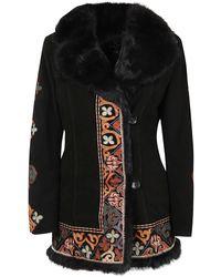 Etro Fur-trim Embroidered Coat - Black
