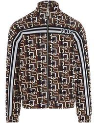 Gcds Monogram Print Zipped Jacket - Brown