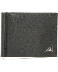 Prada Money Clip Bifold Wallet - Black