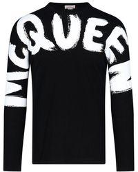 Alexander McQueen Graffiti Logo Long-sleeve T-shirt - Black