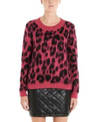 Boutique Moschino Leopard Print Jumper - Red