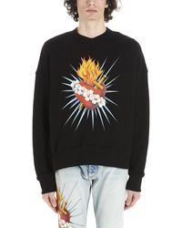 Palm Angels Sacred Heart Print Sweater - Black