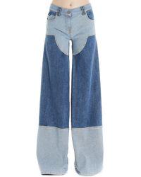 Palm Angels Wide-leg Cargo Jeans - Blue