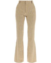 Alessandra Rich Sequined Bootcut Trousers - Natural