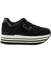 Hogan Maxi H222 Platform Trainers - Black