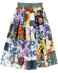 Dolce & Gabbana Patchwork Poplin Skirt - Blue