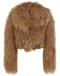 Burberry Belted Shearling Jacket - Brown