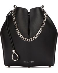 Alexander McQueen Logo Printed Bucket Bag - Black