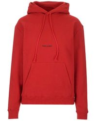 Saint Laurent Logo Print Drawstring Hoodie - Red