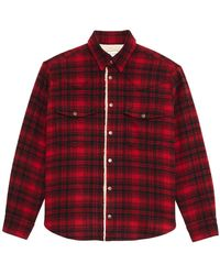 Saint Laurent Checked Shearling Overshirt - Red