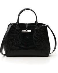 Longchamp Roseau Medium Top Handle Bag - Black