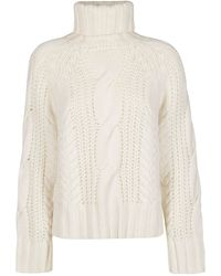 P.A.R.O.S.H. Long Sleeved Cable Knit Jumper - White