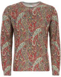 Etro Printed Silk Blend Sweater Nd Uomo - Multicolor