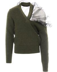 Maison Margiela Tulle Shoulder Sweater - Green